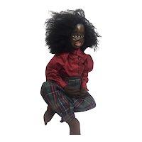 Incredible Black sculpted face cloth artist doll OOAK