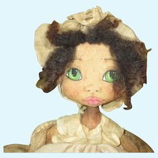 Wonderful Black cloth painted artist doll