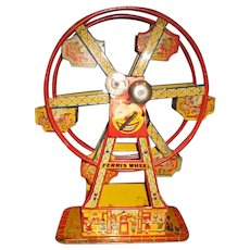 Great 1930's lithograph tin wind up Ferris wheel Chen working