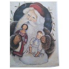 Wonderful vintage Santa print with dolls