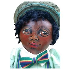 Amazing Black doll  oil painted cloth doll by  Kris Arkoian  OOAK
