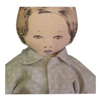 Adorable vintage cloth pen and ink painted boy doll