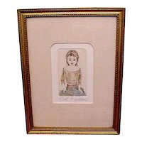 Wonderful  original etching of beautiful doll