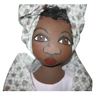 Adorable painted cloth Black doll artist made OOAK