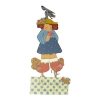 Charming artist made wooden doll sign