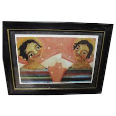 Charming Black sisters Angel print by  Jane Desrosier