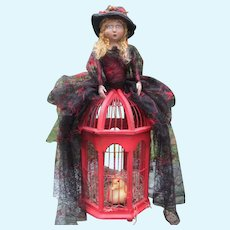 Enchanting Santos cage doll Witch original one of a kind for Halloween