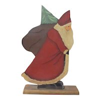 Great primitive Santa painted wood original piece