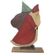 Great primitive Santa painted wood original piece