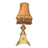 Beautiful old Cast iron lamp with beautiful beaded shade