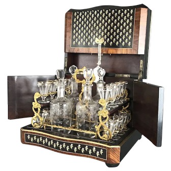 19th C. French Mother of Pearl & Bronze Inlaid Tantalus