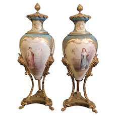 19th  C. French Sevres Porcelain Mounted Bronze Urns