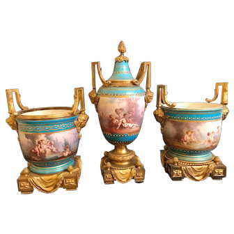 19th C. French Jeweled Sevres Porcelain Mounted Gilted Bronze Urn and Jardiniere