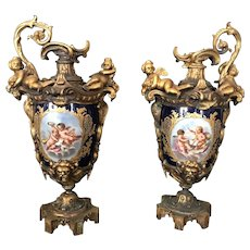 19th C. French Sevres Porcelain Mounted Bronze Decorative Pitches