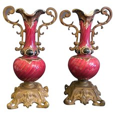 Pair Of 19th C. French Red Glaze Porcelain Mounted On Bronze