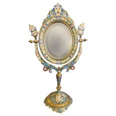 19th C. French Champleve Enamel and Bronze Table Mirror