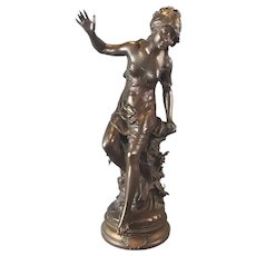 Exceptional 19th C. French Statue Of A Lady Signed Louis Moreau