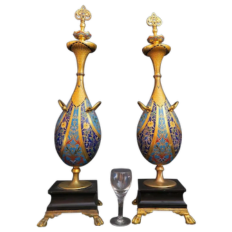 Pair of 19th C. Barbedienne Bronze & Champleve Urns