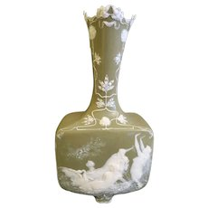 19th C. French Pate-Sur-Pate Celadon Vase