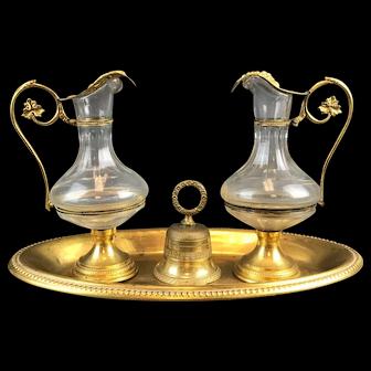 19th C. French Gilt Bronze & Baccarat Crystal Cruet Set