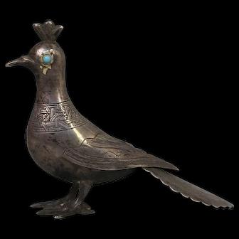 Beautiful Persian Hand Made Figural 84 Silver Bird