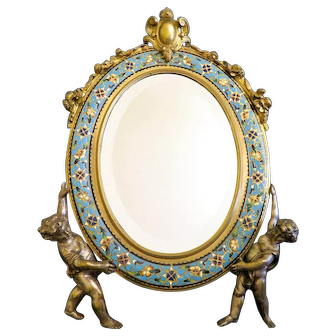 19th C. French Bronze & Champleve Enamel Figural Mirror