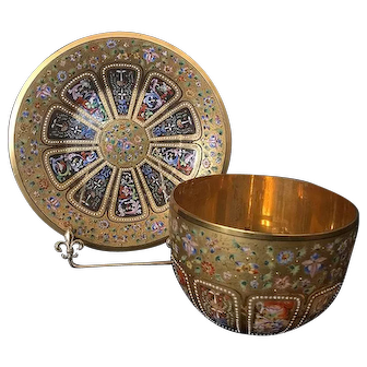 19th C. French Moser Gilt and Enamel Glass Bowl and Plate.
