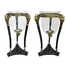 Pair Of Figural Bronze Marble Mounted Glass Jardiniere
