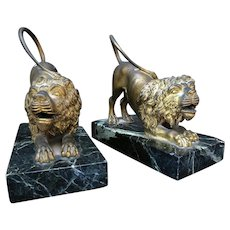Antique 18th French Gilted Bronze Lions