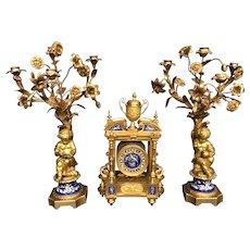 19th C. French Gilt Bronze & Sevres Porcelain Clock Set Signed Beurdeley