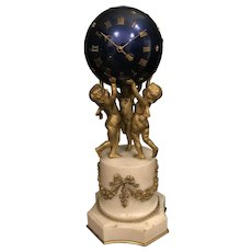 19th C. French gilt Bronze & Marble Clock