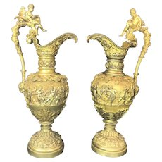 Pair of 19th C. French Bronze Ever Jug