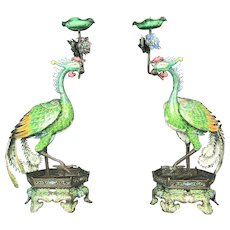 Impressive 19th. C, Pair of Chinese Enamel On Copper Phoenix Candlesticks