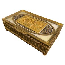 Superb 19th C. Gilt Bronze Box With Champleve And Marble