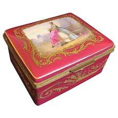 19th C. French Sevres Porcelain and Bronze Hinged Box