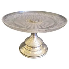 19th C. French Silver And Cut Crystal Cake Stand