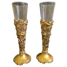 Pair 19th C. of French Gilt Silver Open work And Crystal Vase