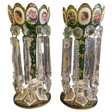 Pair Of 19Th C. Bohemian Overlay Gilt Decorated Glass Lusters