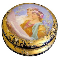 Beautiful 19th C. Signed Royal Vienna Porcelain Dresser Box