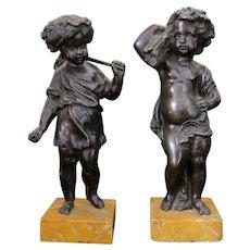 Pair of Brown Patinated Bronze Cherub Statues