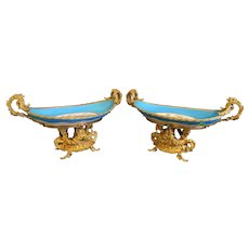 A Pair Of 19th C. French Sevres and Gilt Bronze Centerpiece
