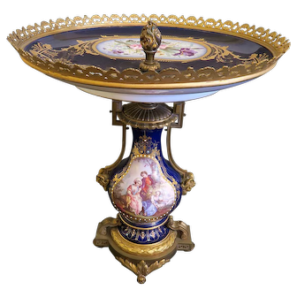 19th C. French Sevres Centerpiece Mounted on Gilt Bronze