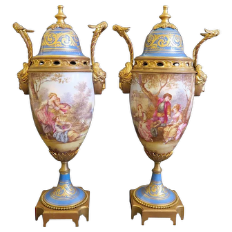 Pair of 19th C. French Sevres Porcelain Vase Mounted On Bronze