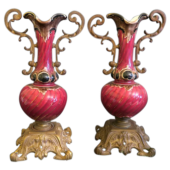 Pair Of French Red Glaze Porcelain Mounted On Bronze