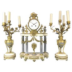 19th C. French Gilt Bronze & Marble Clock Set