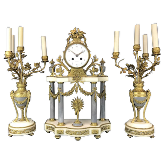 19th C. French Gilt Bronze & Marble Clock Set