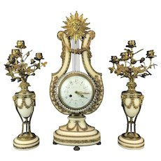 Tiffany & Co Gilt Bronze & Marble Clock Set