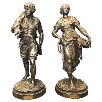 Pair of Huge & Heavy (31 Inches) Patinated Bronze Figures by Emile Louis Picault. French, circa 1890.