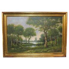 Vintage oil on canvas landscape signed Edward Fay