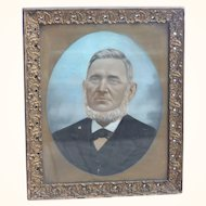 Pastel painting on canvas of a portrait of a man 1800's